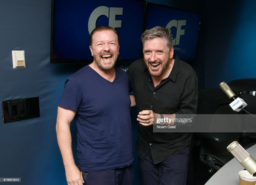 Ricky Gervais and Craig Ferguson pose for a photo at 'The Craig Ferguson Show' at the SiriusXM Studios on July 19, 2017 in New York City.