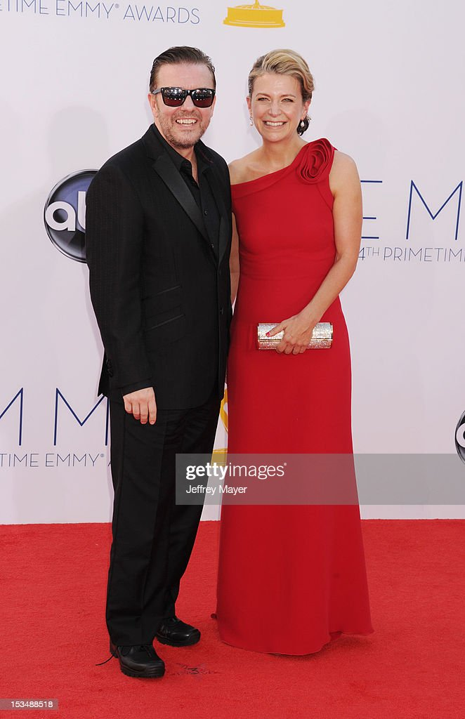 Ricky Gervais and Jane Fallon arrive at the 64th Primetime Emmy Awards at Nokia Theatre L.A. Live on September 23, 2012 in Los Angeles, California.