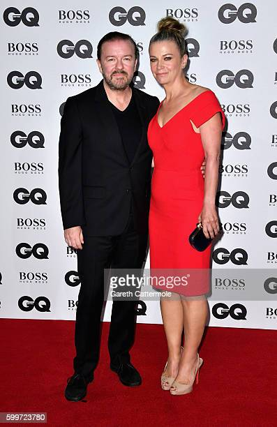 Ricky Gervais and Jane Fallon arrive for GQ Men Of The Year Awards 2016 at Tate Modern on September 6 2016 in London England
