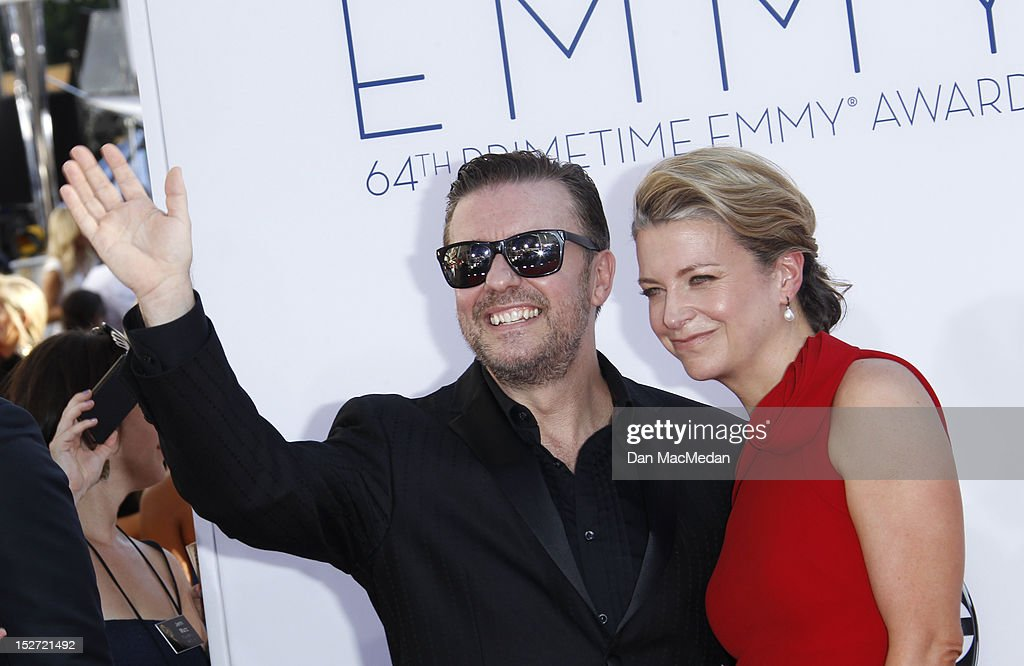 Ricky Gervais and Jane Fallon arrives at the 64th Primetime Emmy Awards held at Nokia Theatre L.A. Live on September 23, 2012 in Los Angeles, California.