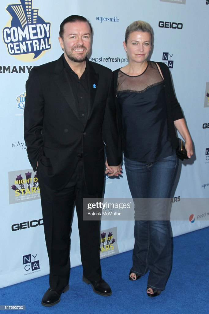 Ricky Gervais and Jane Fallon attend Jon Stewart Hosts