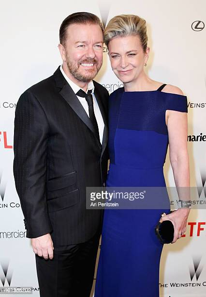 Ricky Gervais and Jane Fallon attend The Weinstein Company Netflix's 2015 Golden Globes After Party presented by FIJI Water Lexus Laura Mercier and...
