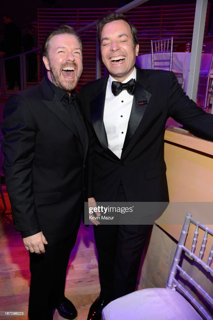 <a gi-track='captionPersonalityLinkClicked' href=/galleries/search?phrase=Ricky+Gervais&family=editorial&specificpeople=209237 ng-click='$event.stopPropagation()'>Ricky Gervais</a> and Jimmy Fallon attend TIME 100 Gala, TIME'S 100 Most Influential People In The World at Jazz at Lincoln Center on April 23, 2013 in New York City.