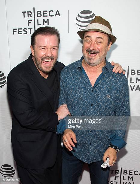 Ricky Gervais and Kevin Pollak attend Tribeca Talks After The Movie 'Special Correspondents' during the 2016 Tribeca Film Festival at John Zuccotti...
