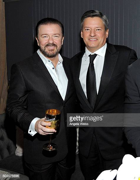 Ricky Gervais and Netflix Head of Content Acquistion Ted Sarandos attend The Weinstein Company and Netflix Golden Globe Party presented with DeLeon...