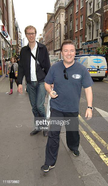 Ricky Gervais and Stephen Merchant during Ricky Gervais and Stephen Merchant Sighting in London July 26 2005 in London Great Britain