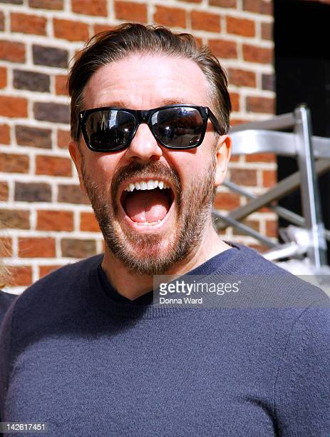 Ricky Gervais arrives for 'The Late Show with David Letterman' at Ed Sullivan Theater on April 9 2012 in New York City