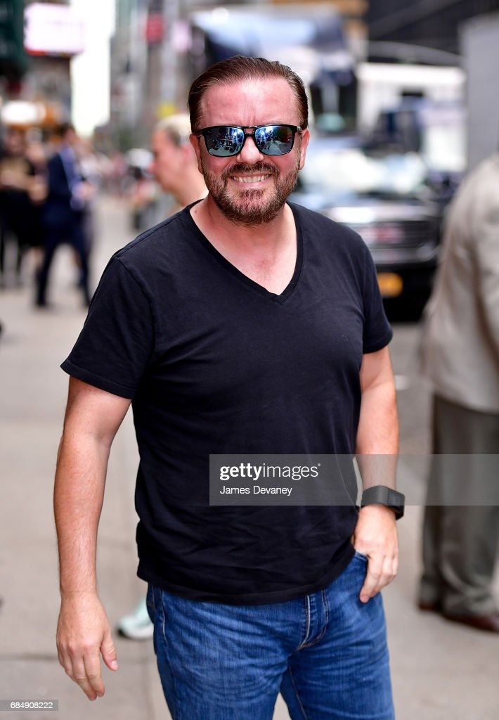 Ricky Gervais arrives to 'The Late Show With Stephen Colbert' at the Ed Sullivan Theater on May 18, 2017 in New York City.