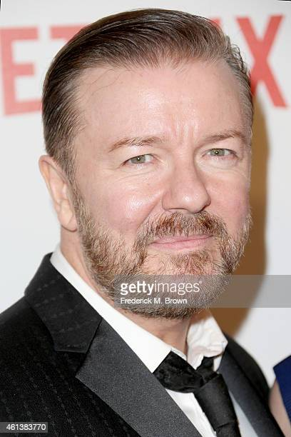 Ricky Gervais attends the 2015 Weinstein Company and Netflix Golden Globes After Party at Robinsons May Lot on January 11 2015 in Beverly Hills...