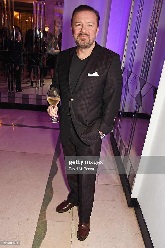 Ricky Gervais attends The London Evening Standard British Film Awards at Claridge's Hotel on December 8, 2016 in London, England.