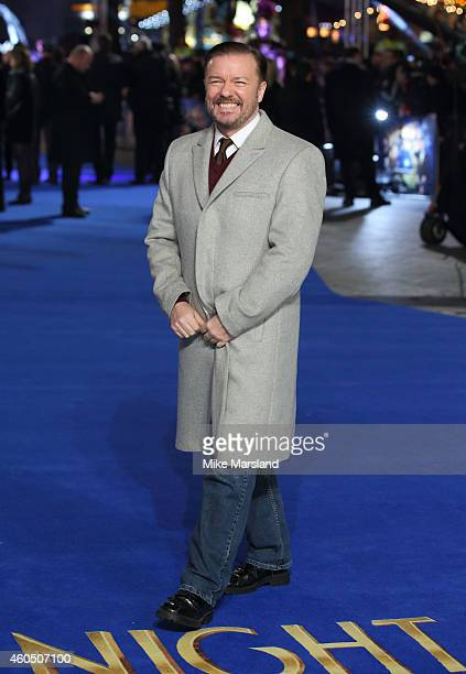 Ricky Gervais attends the UK Premiere of 'Night At The Museum Secret Of The Tomb' at Empire Leicester Square on December 15 2014 in London England