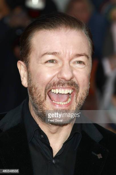 Ricky Gervais attends the VIP screening of 'Muppets Most Wanted' at The Curzon Mayfair on March 24 2014 in London England