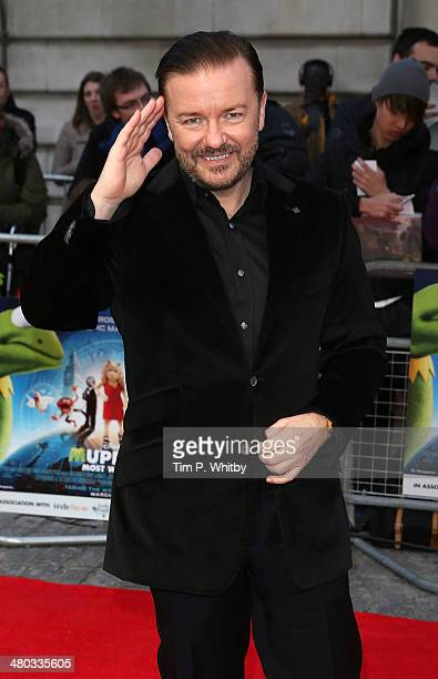 Ricky Gervais attends the VIP screening of 'The Muppets Most Wanted' at The Curzon Mayfair on March 24 2014 in London England