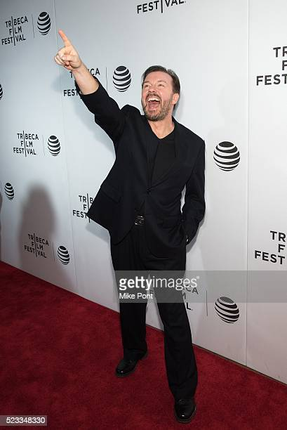 Ricky Gervais attends Tribeca Talks After The Movie 'Special Correspondents' during the 2016 Tribeca Film Festival at John Zuccotti Theater at BMCC...