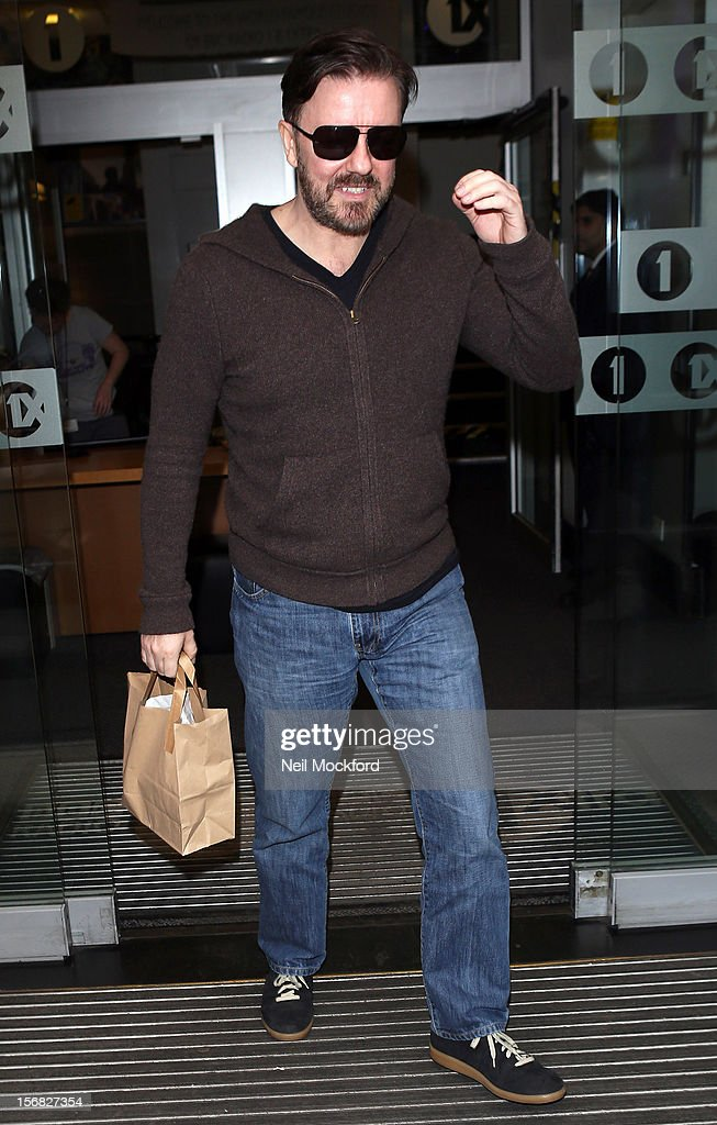 Ricky Gervais seen at BBC Radio One on November 22, 2012 in London, England.