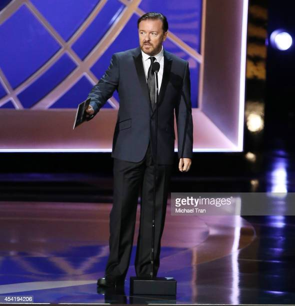 Ricky Gervais speaks onstage during the 66th Annual Primetime Emmy Awards held at Nokia Theatre LA Live on August 25 2014 in Los Angeles California