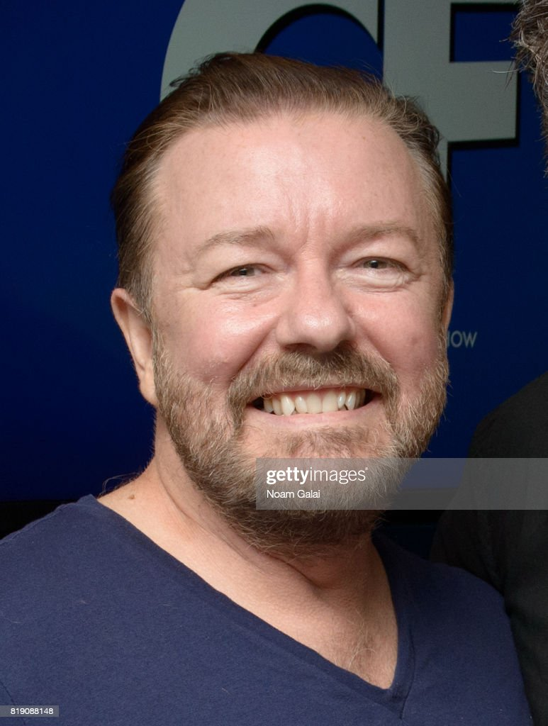 Ricky Gervais visits 'The Craig Ferguson Show' at the SiriusXM Studios on July 19, 2017 in New York City.