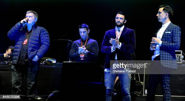 Ricky Hatton Anthony Crolla Hughie Fury and host Russell Kane during the 'We Are Manchester' benefit concert at Manchester Arena on September 9 2017...