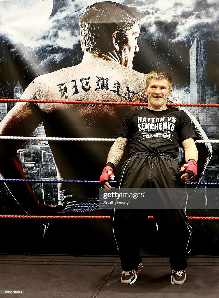 <a gi-track='captionPersonalityLinkClicked' href=/galleries/search?phrase=Ricky+Hatton&family=editorial&specificpeople=208674 ng-click='$event.stopPropagation()'>Ricky Hatton</a> during a media workouot session ahead of his fight with Vyacheslav Senchenko on November 14, 2012 in Manchester, England.