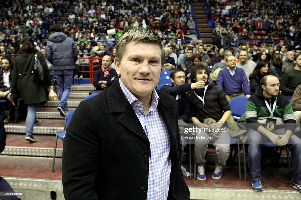 <a gi-track='captionPersonalityLinkClicked' href=/galleries/search?phrase=Ricky+Hatton&family=editorial&specificpeople=208674 ng-click='$event.stopPropagation()'>Ricky Hatton</a> looks on before the 2013-2014 Turkish Airlines Euroleague Regular Season Date 8 game between EA7 Emporio Armani Milan v Real Madrid at Mediolanum Forum on December 5, 2013 in Milan, Italy.
