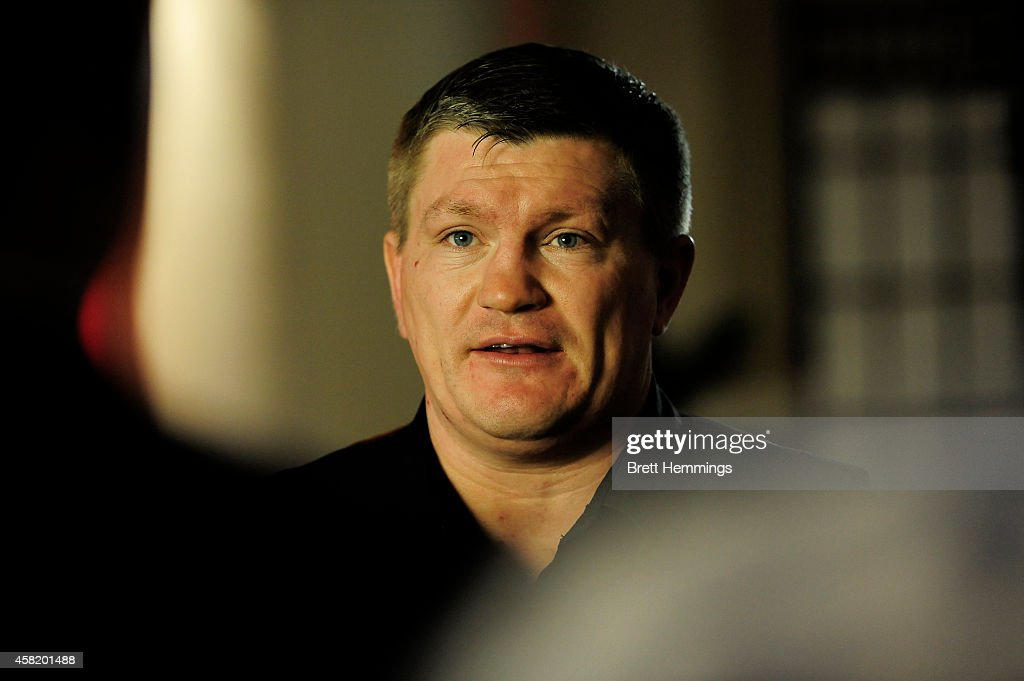 <a gi-track='captionPersonalityLinkClicked' href=/galleries/search?phrase=Ricky+Hatton&family=editorial&specificpeople=208674 ng-click='$event.stopPropagation()'>Ricky Hatton</a> looks on during a press conference at The Kirribilli Club on November 1, 2014 in Sydney, Australia. Mundine will fight Sergey Rabchenko on November 12th in Melbourne.