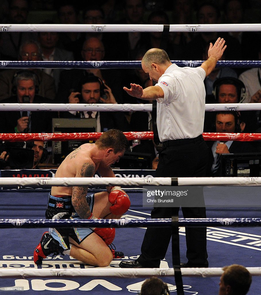 Ricky Hatton of Great Britain fails to beat the count after being knocked down by Vyacheslav Senchenko of Ukraine during their welterweight bout at MEN Arena on November 24, 2012 in Manchester, England.