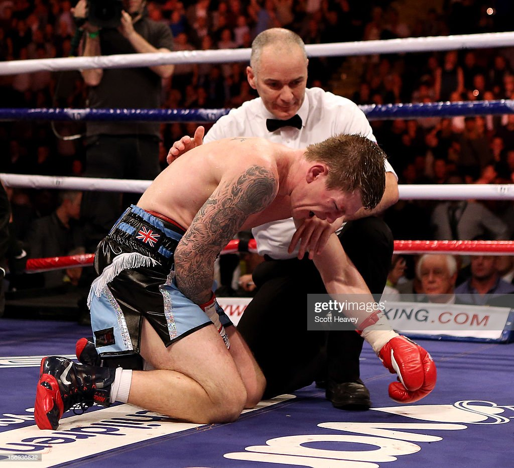Ricky Hatton of Great Britain fails to get up after being knocked down by Vyacheslav Senchenko of Ukraine during their Welterweight bout at the MEN Arena on November 24, 2012 in Manchester, England.
