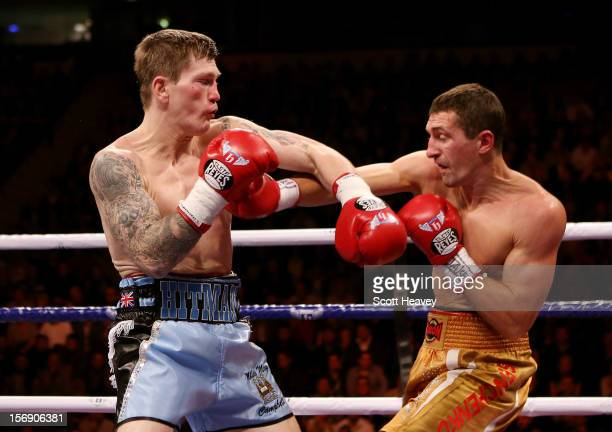 Ricky Hatton of Great Britain in action with Vyacheslav Senchenko of Ukraine during their Welterweight bout at the MEN Arena on November 24 2012 in...