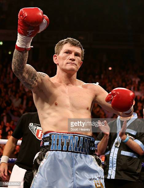 Ricky Hatton of Great Britain prior to his Welterweight bout with Vyacheslav Senchenko of Ukraine at the MEN Arena on November 24 2012 in Manchester...