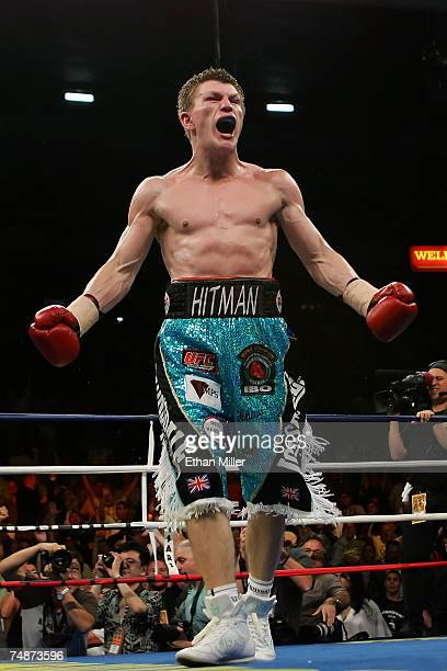 Ricky Hatton of Great Britain reacts after knocking out Jose Luis Castillo of Mexico in the fourth round during their junior welterweight bout at...