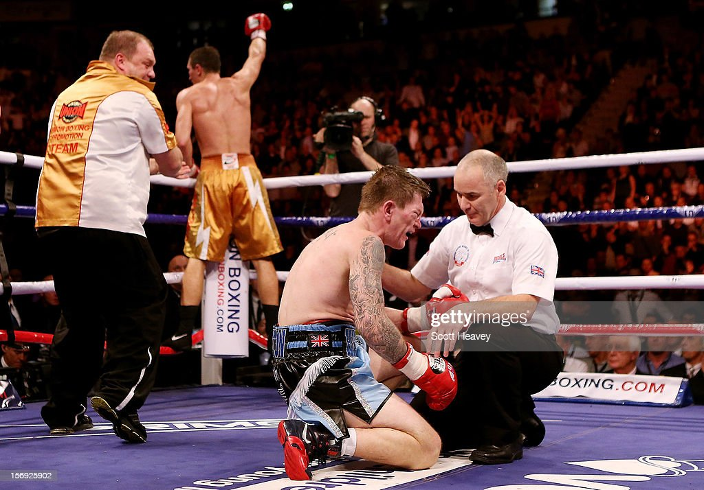 <a gi-track='captionPersonalityLinkClicked' href=/galleries/search?phrase=Ricky+Hatton&family=editorial&specificpeople=208674 ng-click='$event.stopPropagation()'>Ricky Hatton</a> of Great Britainfails to get up after being knocked down by Vyacheslav Senchenko of Ukraine during their Welterweight bout at the MEN Arena on November 24, 2012 in Manchester, England.
