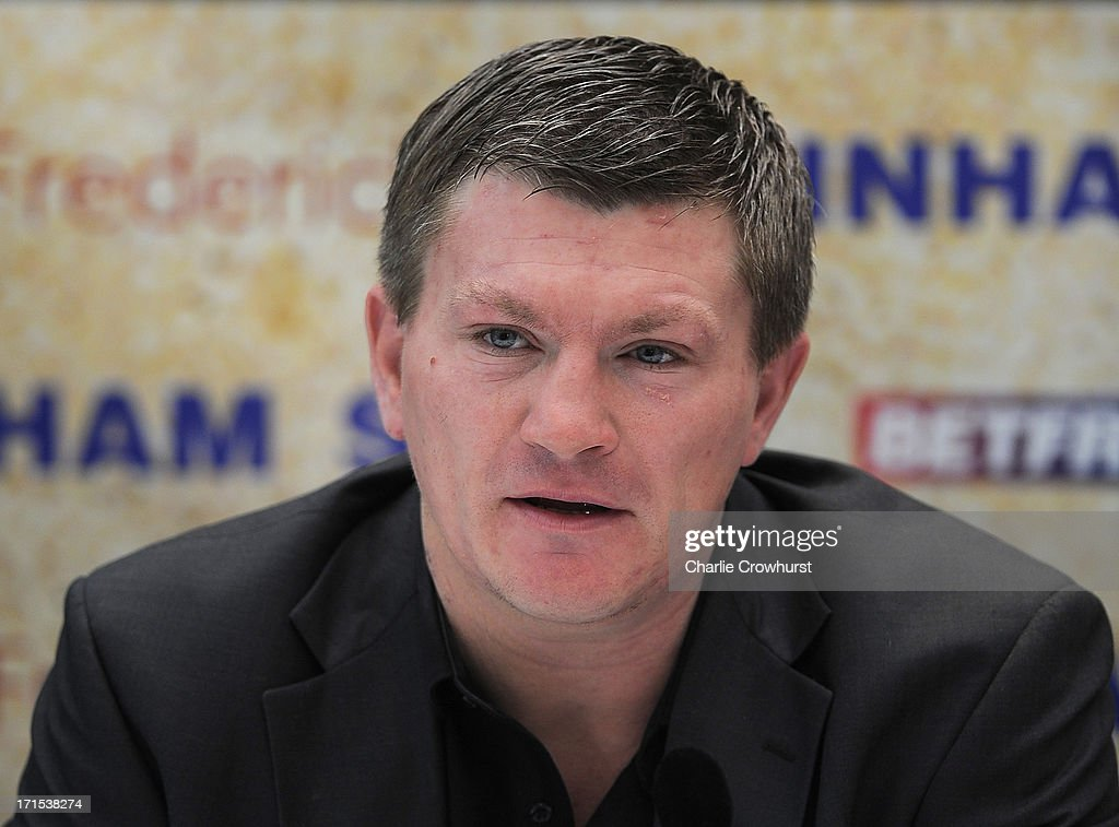 <a gi-track='captionPersonalityLinkClicked' href=/galleries/search?phrase=Ricky+Hatton&family=editorial&specificpeople=208674 ng-click='$event.stopPropagation()'>Ricky Hatton</a> of Hatton Promotions during the Boxnation Press Conference on June 26, 2013 in London, England.