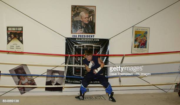 Ricky Hatton shadow boxes during a media workout at the IBA gym in Las Vegas USA