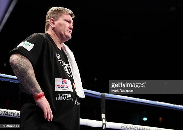 Ricky Hatton trainer of Nathan Gorman during theHeavyweight fight against Igor Mihaljevic at the Motorpoint Arena on November 26 2016 in Cardiff Wales