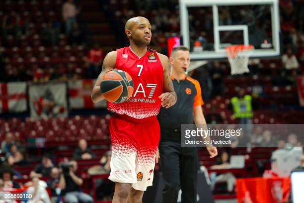 Ricky Hickman #7 of EA7 Emporio Armani Milan in action during the 2016/2017 Turkish Airlines EuroLeague Regular Season Round 30 game between EA7...