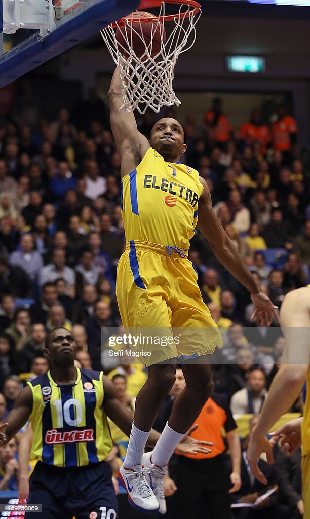 Ricky Hickman, #7 of Maccabi Electra Tel Aviv in action during the 2012-2013 Turkish Airlines Euroleague Top 16 Date 3 between Maccabi Electra Tel Aviv v Fenerbahce Ulker Istanbul at Nokia Arena on January 10, 2013 in Tel Aviv, Israel.
