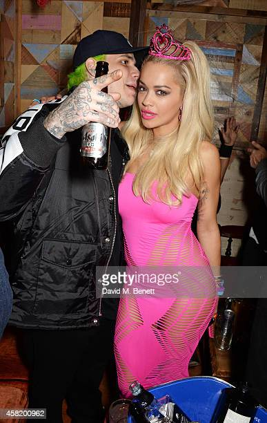 Ricky Hil and Rita Ora attend 'Death Of A Geisha' hosted by Fran Cutler and Cafe KaiZen with Grey Goose on October 31 2014 in London England