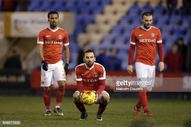 Ricky Holmes of Charlton Athletic claims the matchball following his hattrick but ends up on the losing side following the Sky Bet League One match...