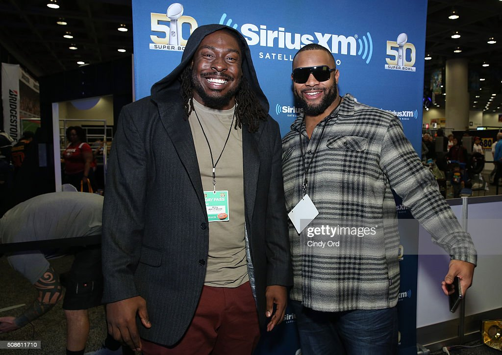 <a gi-track='captionPersonalityLinkClicked' href=/galleries/search?phrase=Ricky+Jean-Francois&family=editorial&specificpeople=2109845 ng-click='$event.stopPropagation()'>Ricky Jean-Francois</a> (L) of the Washington Redskins and former NFL player <a gi-track='captionPersonalityLinkClicked' href=/galleries/search?phrase=Lance+Briggs&family=editorial&specificpeople=210780 ng-click='$event.stopPropagation()'>Lance Briggs</a> visit the SiriusXM set at Super Bowl 50 Radio Row at the Moscone Center on February 5, 2016 in San Francisco, California.