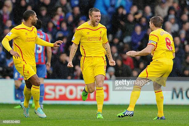 Ricky Lambert of Liverpool celebrates after scoring the opening goal during the Barclays Premier League match between Crystal Palace and Liverpool at...