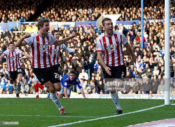 Ricky Lambert of Southampton celebrates after scoring the opening goal of the npower Championship match between Portsmouth and Southampton at Fratton...
