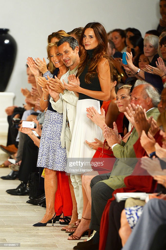 Ricky Lauren, Andrew Lauren and Laetitia Queyranne the runway at the Ralph Lauren Spring 2013 fashion show during Mercedes-Benz Fashion Week on September 13, 2012 in New York City.