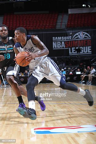 Ricky Ledo of the Dallas Mavericks drives against the Charlotte Hornets at the Samsung NBA Summer League 2014 on July 16 2014 at the Thomas Mack...