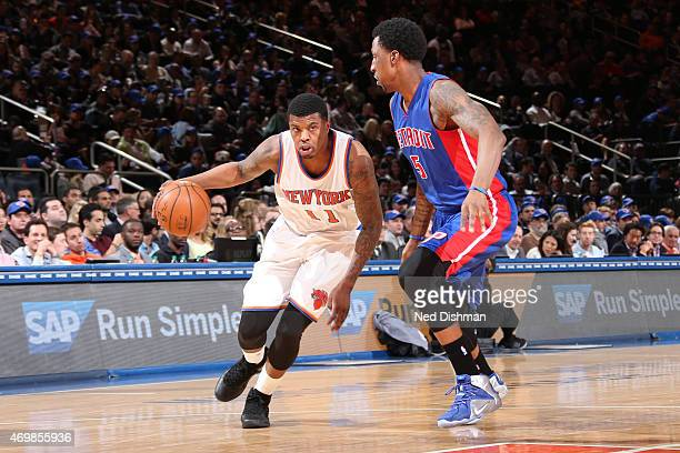 Ricky Ledo of the New York Knicks drives to the basket against Kentavious CaldwellPope of the Detroit Pistons on April 15 2015 at Madison Square...