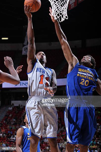 Ricky Ledo of the New York Knicks shoots the ball against James Michael McAdoo of the Golden State Warriors on July 16 2015 at the Thomas Mack Center...