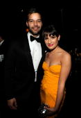 NEW YORK JUNE 13 Ricky Martin and Lea Michele in the green room at the 64th Annual Tony Awards at Radio City Music Hall on June 13 2010 in New York...