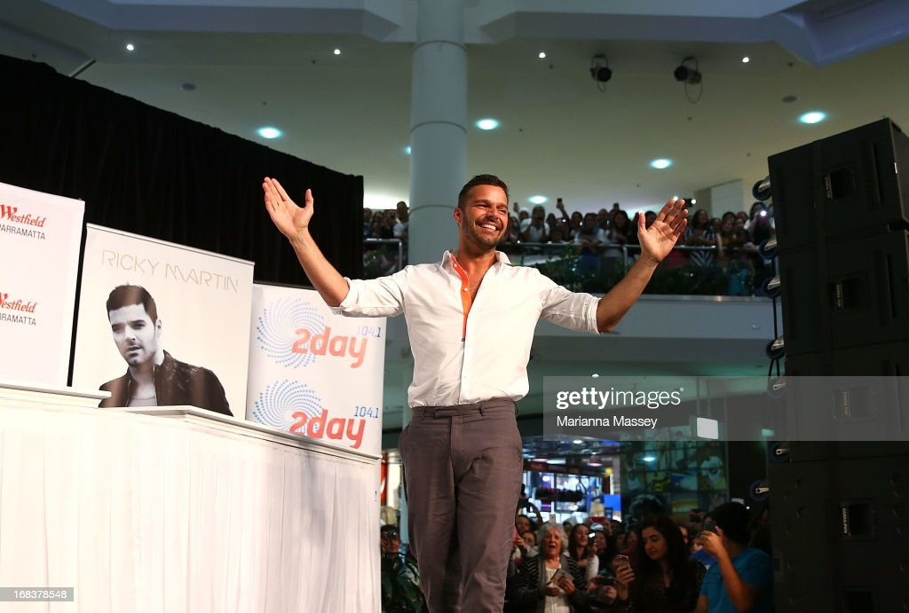 <a gi-track='captionPersonalityLinkClicked' href=/galleries/search?phrase=Ricky+Martin&family=editorial&specificpeople=160450 ng-click='$event.stopPropagation()'>Ricky Martin</a> during a promotion for his Greatest hits release at Westfield Paramatta on May 9, 2013 in Sydney, Australia.