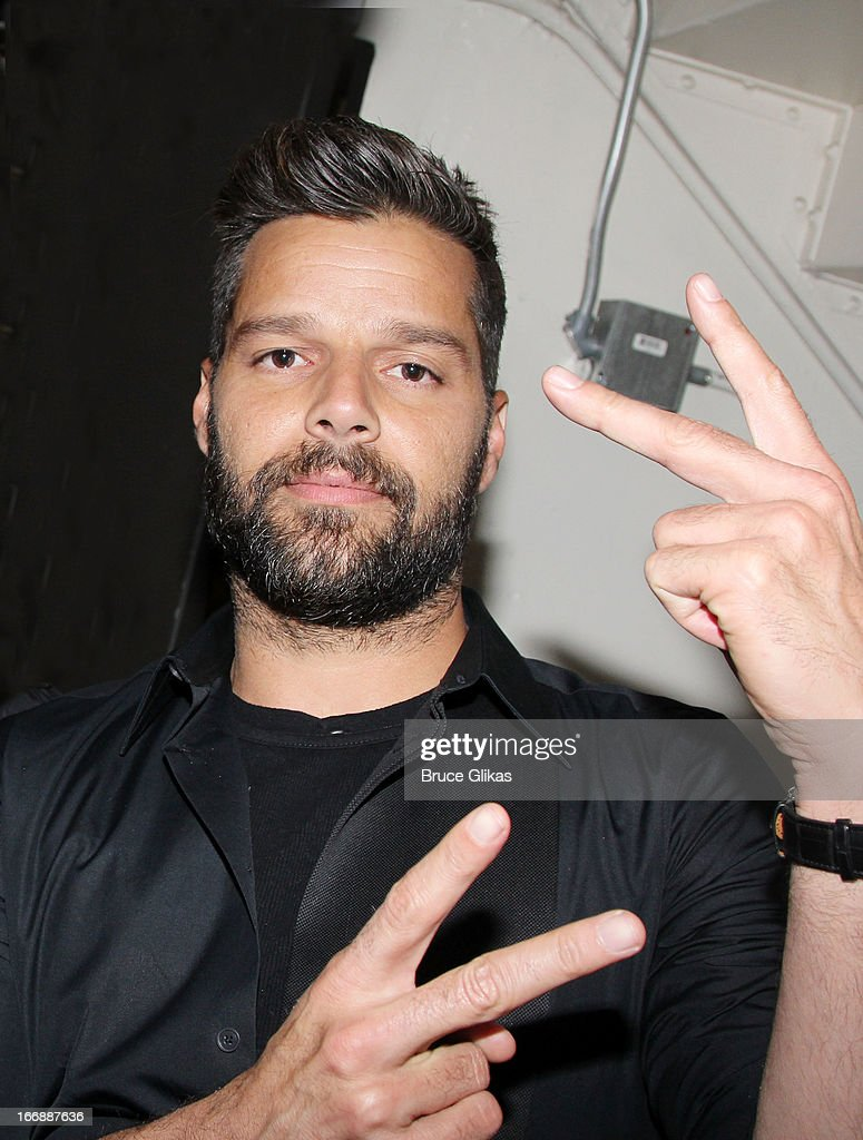 Ricky Martin poses backstage at the hit musical 'Kinky Boots' on Broadway at The Al Hirshfeld Theater on April 17, 2013 in New York City.