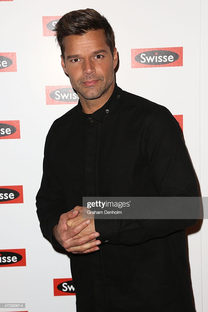 <a gi-track='captionPersonalityLinkClicked' href=/galleries/search?phrase=Ricky+Martin&family=editorial&specificpeople=160450 ng-click='$event.stopPropagation()'>Ricky Martin</a> poses on the red carpet prior to a private concert at The Palms at Crown on May 6, 2015 in Melbourne, Australia.