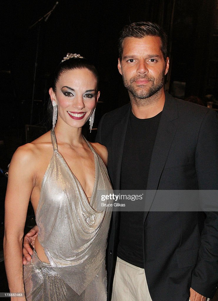 <a gi-track='captionPersonalityLinkClicked' href=/galleries/search?phrase=Ricky+Martin&family=editorial&specificpeople=160450 ng-click='$event.stopPropagation()'>Ricky Martin</a> poses with a cast member backstage at the Argentinian dance sensation 'Forever Tango' on Broadway at The Walter Kerr Theater on July 11, 2013 in New York City.